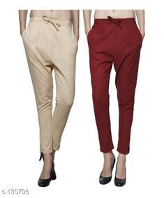 Trousers & Pants Gorgeous Cotton Pant (Combo of 2) Fabric: Cotton Waist Size: 26 in 28 in 30 in 32 in 34 in 36 in 38 in 40 in 42 in Length: Up to 35 in to 36 in Type: Stitched Description: It Has Combo of 2 Pant Pattern: Solid Country of Origin: India Sizes Available: 26, 28, 30, 32, 34, 36, 38, 40, 42   Catalog Rating: ★4 (204)  Catalog Name: Ladies Cotton Pants Combo Vol 1 CatalogID_12887 C79-SC1034 Code: 295-130796-9942