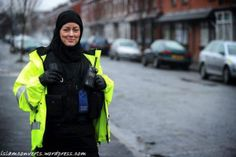 Jayne Kemp patrols in her hijab, in Manchester UK. More info http://islamconverts.wordpress.com/2013/02/09/devout-jayne-police-officer-at-manchester-u-k-converted-to-islam/ and Islamic info http://www.islamic-web.com/