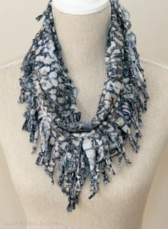 Soft Grey & White Animal Print Short Knotted Cowl