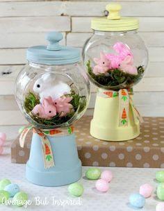 Adorable Spring Bunny Gumball Machine Craft - Easter and Spring Ideas - Adorable! Make these bunny gumball machines for your Easter decor or spring decor this year! Kids Crafts, Easter Crafts For Adults, Decor Crafts, Kids Diy, Tree Crafts, Easter Projects, Craft Projects, Easter Ideas, Spring Crafts