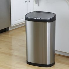 Nine Stars DZT-50-13 Touchless Stainless Steel 13.2 Gallon Trash Can - DZT-50-13