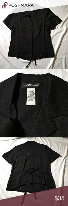 NWOT Black Sag Harbor shirt sleeved blouse Beautiful black 75% rayon,25% polyester. Shoulder pads and clothe covered buttons. Very dressy Sag Harbor Tops Blouses