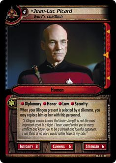"""""""• Jean-Luc Picard, Worf's cha'Dich"""" [7 R 95] from the STAR TREK CUSTOMIZABLE CARD GAME 2nd Edition by DECIPHER 