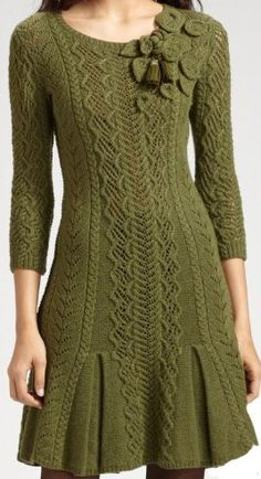 Gorgeous #knit #trellis #sweaterdress - worthy inspiration for a sweater. Though I think the rosette shoulder as is is overkill; something more subtle would be nice.: