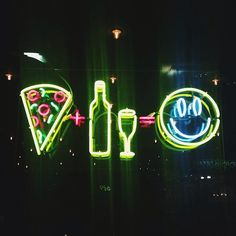 Food | wine | happy | neon