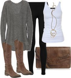 #fall #outfits / Grey Longsleeve + Tall Boots