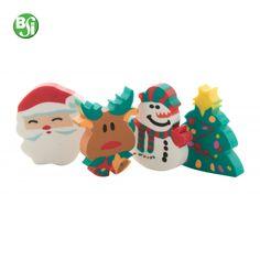 Set di 4 gomme per cancellare in forme natalizie.  #gomme #natale #regalo #gadgetpersonalizzati #gift #christmas