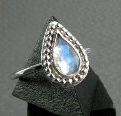 Teardrop Moonstone Ring  Rainbow Moonstone  by JessicaCoxJewelry, $65.00