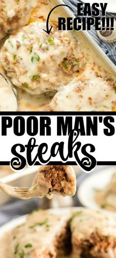 An old fashioned recipe, these poor man's steaks make for a hearty family dinner. Seasoned ground beef is shaped into patties, covered in delicious gravy and then baked in the oven. Hamburger Steaks, Ground Beef Recipes, Steak Recipes, Cooking Recipes, Hamburger Recipes, Skillet Recipes, Sausage Recipes, Easy Cooking, Paleo Recipes