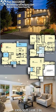 Architectural Designs Modern Plan 666028RAF gives you over 3,900 sq ft of heated living space with 4 beds and 3 baths. Ready when you are! Where do YOU want to build? #6660028RAF #adhouseplans #architecturaldesigns #houseplan #architecture #newhome #newconstruction #newhouse #homedesign #dreamhome #homeplan #architecture #architect #housegoals #house #home #design #modern #moderndesign #modernhouse