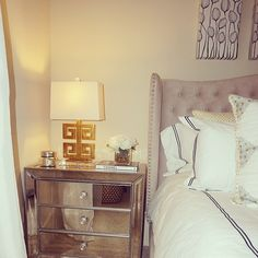 @evelynsheput showcases her stunning bedroom, complete with our Jameson Bed and Omni Mirrored Side Chest.