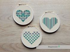 geometric modern cross stitch pattern heart, set of 3,  valentine hearts, PDF pattern ** instant download**