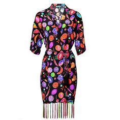 Matthew Williamson We Liming Silk Tassel Kimono Robe ($555) ❤ liked on Polyvore featuring intimates, robes, beachwear, black, cover-ups, silk slip, beach robe, kimono bathrobe, dressing gown and silk dressing gown kimono