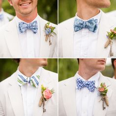 Bow ties with different patterns, same colors for groomsmen