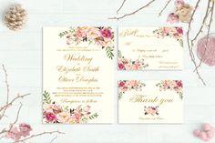 Floral Wedding Invitation Printable Wedding Invitations Suite Gold Foil Typography Boho Wedding Set Bohemian Chic  Spring / Summer Wedding