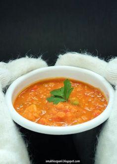 Smak Hiszpanii: Zupa z czerwonej soczewicy z pomidorami, papryką i ziemniakami Tofu, Food And Drink, Cooking Recipes, Health, Ethnic Recipes, Health Care, Chef Recipes, Recipies, Salud