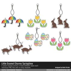 Little Enamel Charms: Springtime umbrellas eggs and chocolate bunnies in little decorative charms for scrapbooking and card making #designerdigitals