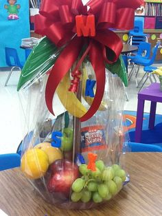 GIFT: Chicka Chicka Boom Boom Fruit Basket given to me by some very thoughtful people.     Mrs. Ayala's Kinder Fun: A week of Great Finds and Creations!