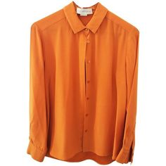 Pre-owned blouse ($235) ❤ liked on Polyvore featuring tops, blouses, orange, stella mccartney, orange silk top, orange blouse, silk blouses and orange silk blouse