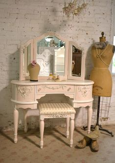 Apr 2020 - Painted Cottage Chic Shabby Romantic Vanity and Mirror and Vanity Shabby Chic, Shabby Chic Design, Shabby Chic Bedrooms, Shabby Chic Furniture, Shabby Chic Decor, Vintage Vanity, Shabby Chic Salon, Romantic Bedrooms, Romantic Shabby Chic