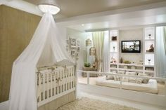 quarto de bebe bege e branco