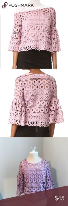 """Crochet crop top💜 Crochet crop top with flared sleeves. Comes with a underlining. Color is technically """"pink"""" but it's definitely more purple. Worn once, like new!                       •n o  t r a d e s• •s m o k e  f r e e / p e t  f r e e  h o m e•   •s a m e / n e x t  d a y  s h i p p i n g• Style Mafia Tops Crop Tops"""