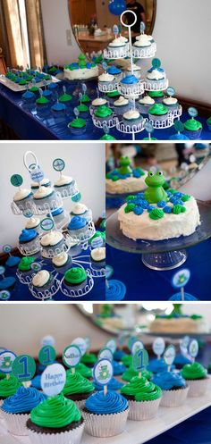N's Frog First Birthday from Mama Say What?! Check out N's frog themed first birthday party with lots of blues and greens!