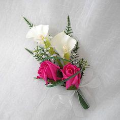 Hot Pink Bridal Bouquets | WEDDING FLOWERS - CALA LILY AND ROSE LADIES CORSAGE IVORY AND HOT PINK