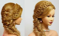 Braided hairstyles for long hair tutorial. 4 Strand with Fishtail Braid.