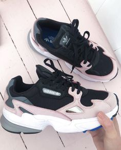 Adidas Falcon Trainers Core Black Light Pink - Hers trainers 21033ca05
