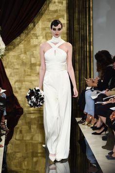 Am loving this Thea wedding jumpsuit with the Old Hollywood Glamour vibe. I could picture Kate Hepburn rocking this.