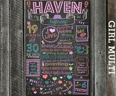 First Birthday Chalkboard Girl Multi / DIGITAL / Printable / baby GIRL 1st / Baby's First Birthday / Plus FREE Web File on Etsy, $39.00