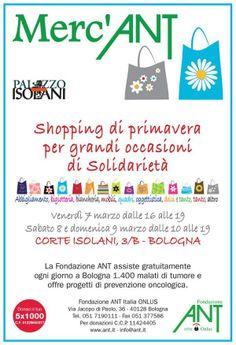 7-8-9 marzo shopping a Corte Isolani a favore dell'ANT