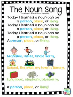Teach students to identify nouns with this fun song, perfect for learning parts of speech in the elementary classroom.the noun song Teaching Grammar, Teaching Language Arts, Teaching English, Grammar Activities, Listening Activities, Grammar Rules, Vocabulary Games, Teaching Spanish, English Grammar