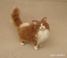 OOAK 1:12 Dollhouse Miniature Cat Kitten Furred Realistic Handmade Animal IADR