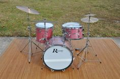 '60's red wine ripple rogers drum kit.