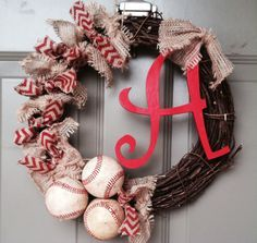 Baseball wreath Burlap Baby shower