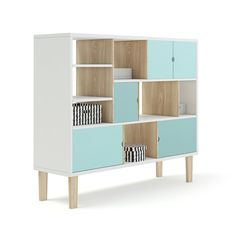 Buy Wooden Shelf with Black and White Boxes by CGAxis on model of white children's shelf with cyan color fronts. There are some black and white boxes on it. Childrens Shelves, White Box, Black And White, Wooden Shelves, Kids Furniture, 3 D, Design Inspiration, Infographic, Shelf