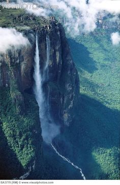 Angel Falls, Venezuela. (Aerial of Angel Falls, the highest waterfall in the world (979m) at Auyantepui table mountain, Canaima National Park, Venezuela, Bolivar State.)