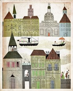 Vintage Märchen Illustration Rainbow Village von missquitecontrary