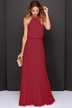 Wine Red Sleeveless Pleated Maxi Dress