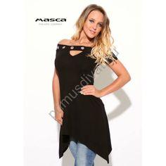 Masca Fashion ékszerkarikás díszítésű vállra húzható nyakú fekete tunika, oldalain hosszabb szabással Tunic Tops, Women, Fashion, Tunic, Moda, Fashion Styles, Fashion Illustrations, Woman