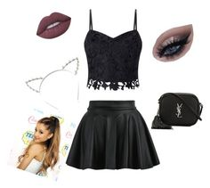 """""""Ariana dangerous women"""" by tinadancer9 ❤ liked on Polyvore featuring Lipsy, Candie's, Yves Saint Laurent and Lime Crime"""