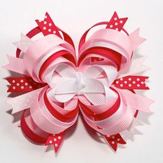 Hot Pink Light Pink White Stacked Boutique Hair Bow