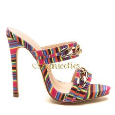 Gorgeous multi color stiletto Gorgeous multi color stiletto with gold chain accent. Gorgeous woven multicolor heel. 5 in heel. Available in size 5.5-10. New in box never worn. please do not buy this listing, I will make one for you with your size  custom order takes approximately one week to arrive to ship out . Shop Niceties  Shoes Heels