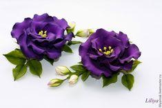 Купить Эустома с бутонами пурпурная (зажим для волос) - темно-фиолетовый, пурпурный цвет, заколка для волос