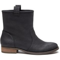 Sole Society Natasha Slip-On Bootie ($90) ❤ liked on Polyvore featuring shoes, boots, ankle booties, black leather, ankle boots, short black boots, black ankle booties, flat ankle boots and black boots
