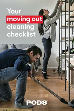 Moving on to a new place? Leave your current home as spotless as you found it with our moving out cleaning checklist. #ContainingTheChaos Moving Tips, Moving Out, Move Out Cleaning, Cleaning Checklist, Moving Hacks