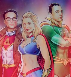 My beloved Big Bang Theory cast as superheroes (cropped version)