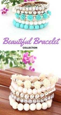 Beautiful Bracelet Collection #bracelet #jewelry #collection #fashion #beautiful Fashion Bracelets, Jewelry Collection, Jewlery, Beaded Bracelets, Collections, Beads, Beautiful, O Beads, Jewerly